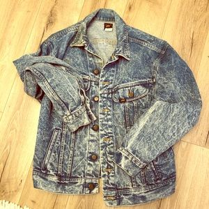 Vintage lee denim jean acid wash western jacket M